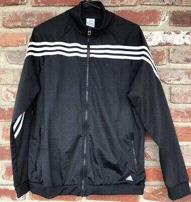 Adidas 3 Stripes Men's XL Black & White Full Zip-Up Track Jacket Athletic Fit