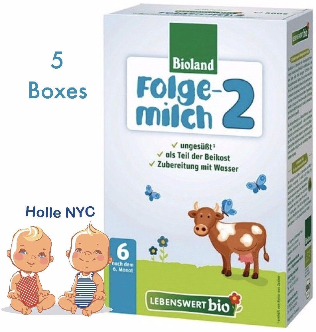 Holle Lebenswert Stage 2 Organic Formula,5 BOXES,500g 10/2019 FREE SHIPPING