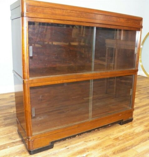 Mid Century Stacking Bookcase Walnut 2 sections Sliding Glass Doors lawyers