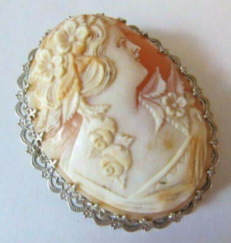 ORNATE 14k Gold Antique Victorian Shell CAMEO Filigree BROOCH Pendant Pin ROSES