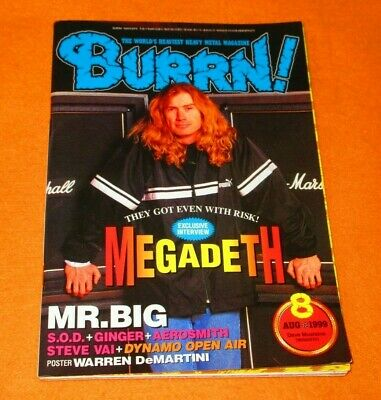 a22dbcf7 BURRN! AUGUST 8/1999 MEGADETH Mr. Big, RIOT DGM GLENN HUGHES AEROSMITH  JAPAN Mag