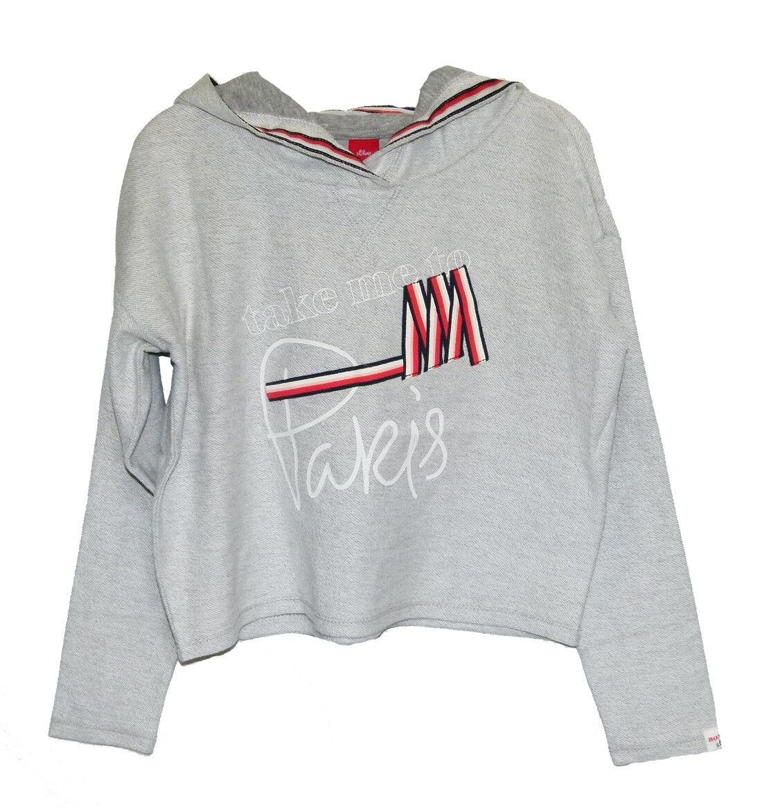 s.Oliver Mädchen kurzer Pullover / Crop Sweatshirt mit Kapuze in grau 9400