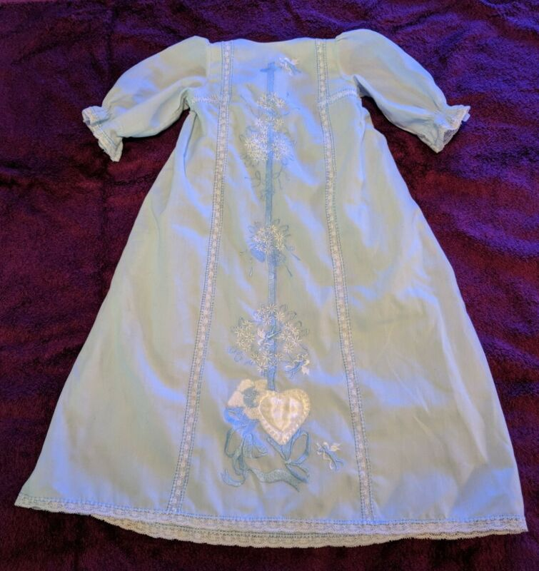 *STUNNING* Vintage Hand Made Baby Blue Christening Gown & Matching Undergarment