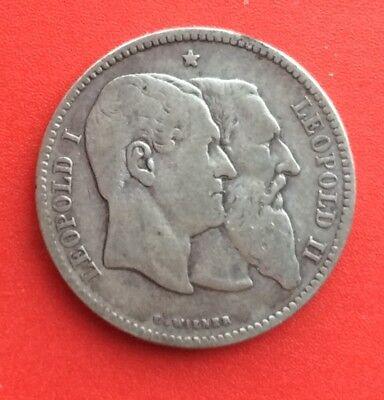 Belgique - Léopold II - Rare et Joli 2 Francs  1880 - Cinquantenaire Belgique