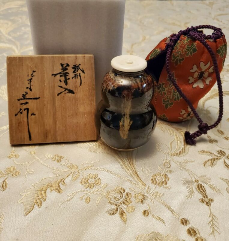 Contemporary Japanese Gourd Shaped  Seto Tea Jar Pottery Ceramics