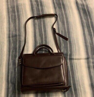 Compact Franklin Quest Brown Leather Zip Planner Binder Bag Holder