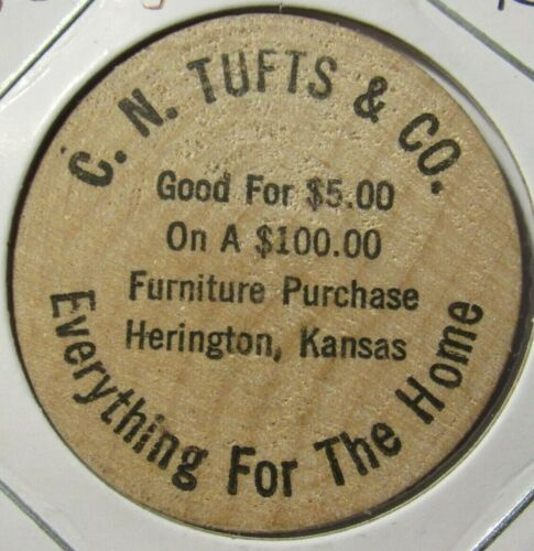 Vintage C.N. Tufts & Co. Herington, KS Wooden Nickel - Token Kansas