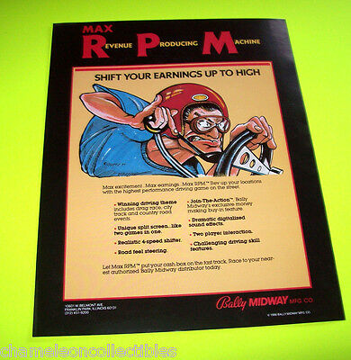 MAX RPM by BALLY MIDWAY 1986 ORIGINAL VIDEO ARCADE GAME PROMO SALES FLYER
