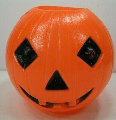 Vintage Halloween Blow Mold Pumpkin Jack-O-Lantern Treat Bucket Pail (B)