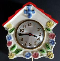 Vintage Blue Bird Birdhouse Plug In Electric Hanging Kitchen Clock Ceramic Works