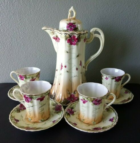 VINTAGE HAND PAINTED JAPANESE PORCELAIN CHOCOLATE POT w/ 4 CUPS & SAUCERS