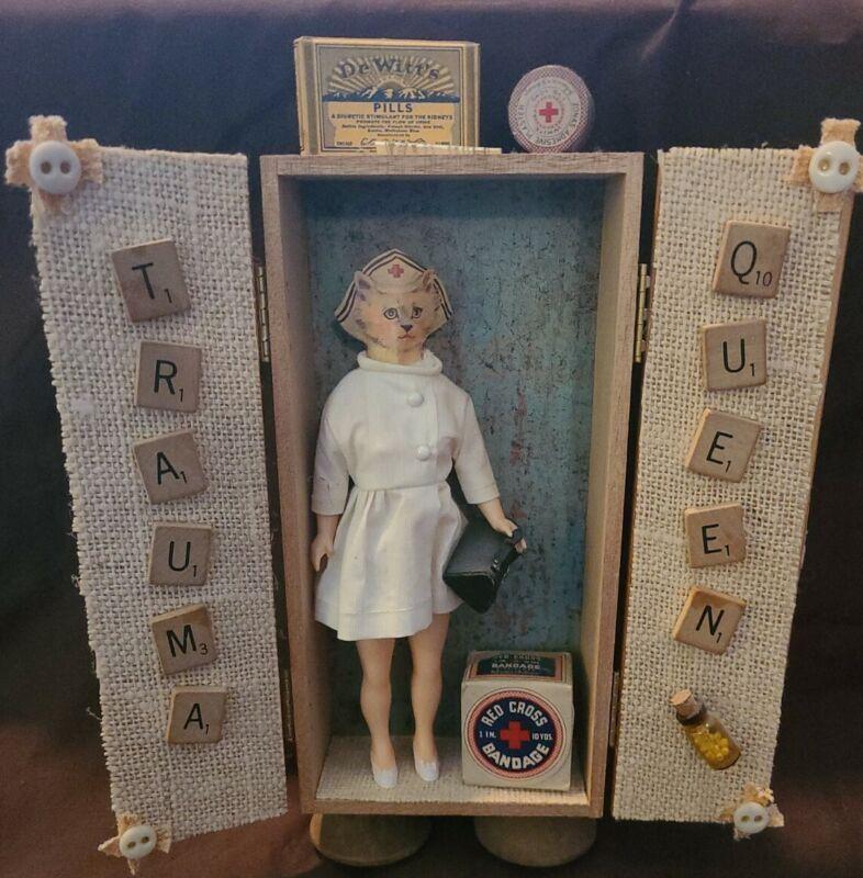 Custom Made Medical Shadow Box Figure., vintage, nurse cat