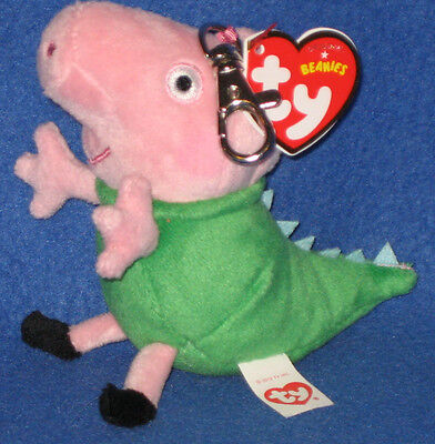 TY DINOSAUR GEORGE BEANIE BABY KEY CLIP - UK EXCLUSIVE (PEPPA PIG) - MINT TAGS - George Pigs Dinosaur