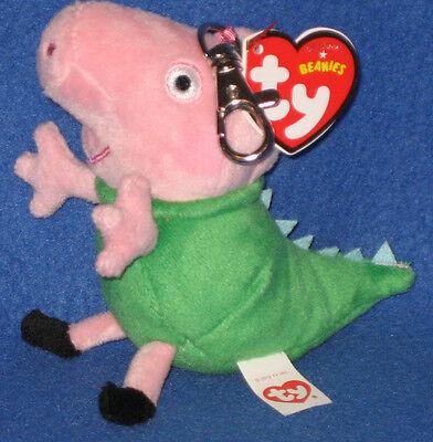 TY DINOSAUR GEORGE BEANIE BABY KEY CLIP - UK EXCLUSIVE (PEPPA PIG) - MINT TAGS - George Pigs Dinosaur