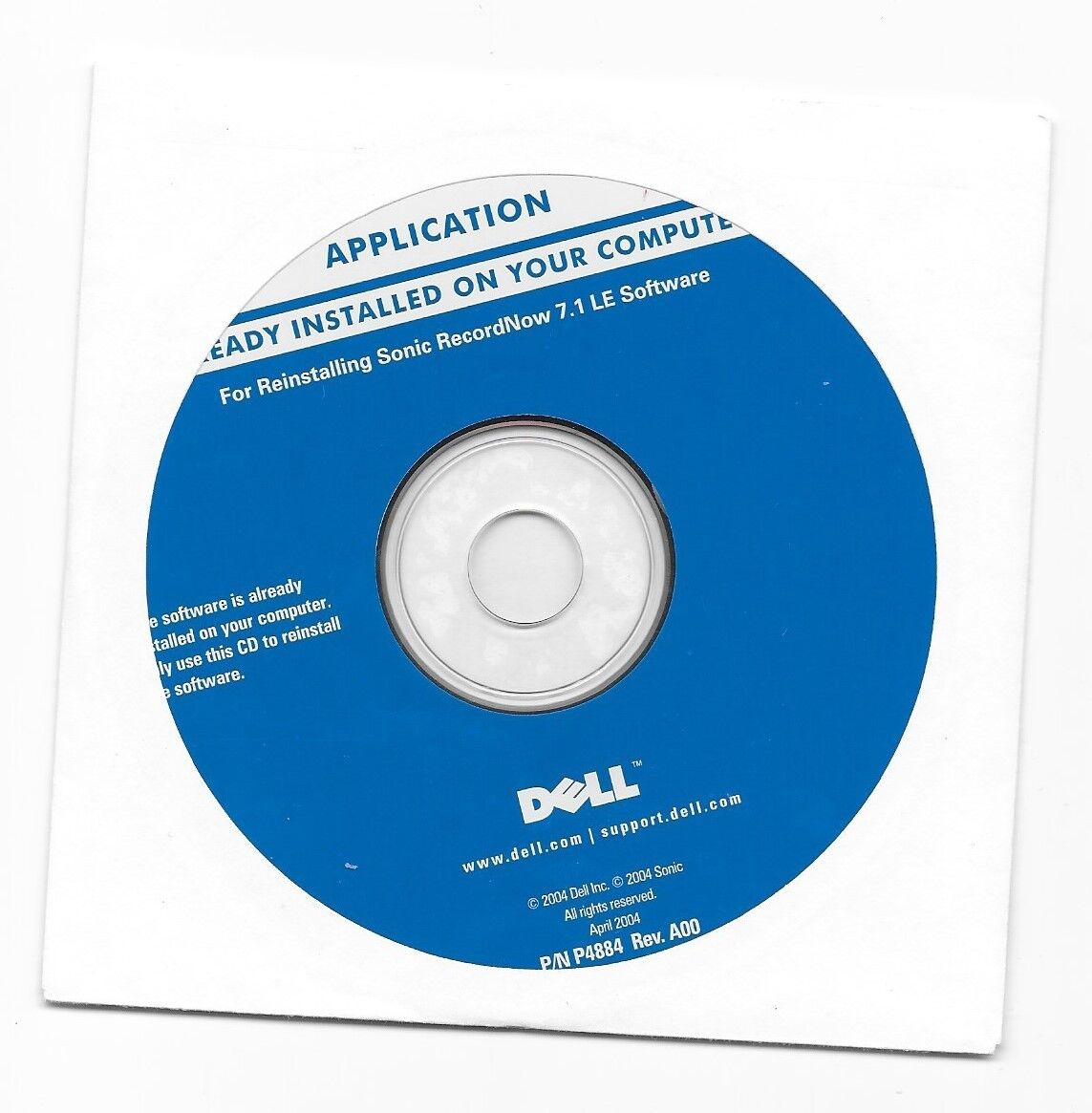 Dell For Reinstalling Sonic RecordNow 7.1 LE Software P/N P4884 Copyright 2004