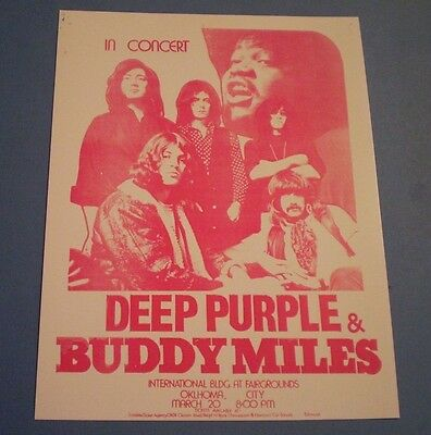 DEEP PURPLE  AND  BUDDY MILES   CONCERT HANDBILL FLYER PRINT OKLAHOMA CITY 1972