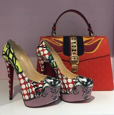 CHRISTIAN LOUBOUTIN Multi-colored Pumps with designer's face Size 37 1/2
