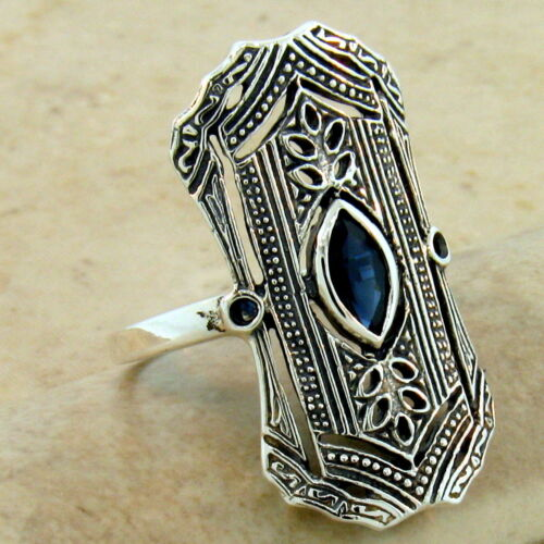 ART DECO GENUINE SAPPHIRE 925 STERLING SILVER ANTIQUE STYLE RING SIZE 10,  #1093