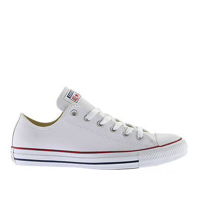 Mens Converse Chuck Taylor All Star Lo Top Leather Fashion Sneaker Optical (Mens White Leather Sneaker)