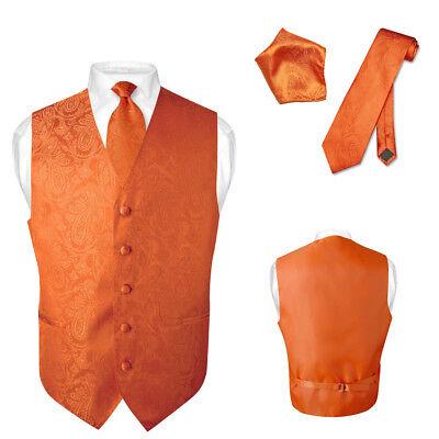 Men's Paisley Design Dress Vest & NeckTie BURNT ORANGE Color Neck Tie - Orange Vest
