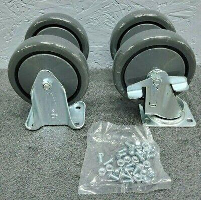 Lot Of 4 - 5 X 1.25 Casters 2pc. Ridgid 2pc. Swivel W Brake New Caster Wheel