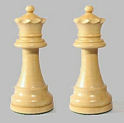 "Drueke Boxwood Chess Pieces Two Extra Large 4"" Queens Double Weighted Queens"