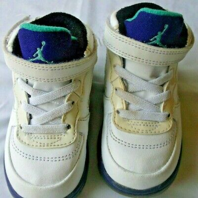 Nike Retro hi-top White /purple/green/blue Baby Shoes size 5c basketball,no tie ()