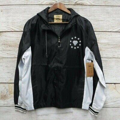 Brooklyn Laundry Jacket Mens Medium Black Star Hooded Windbreaker Jacket New, used for sale  Shipping to India