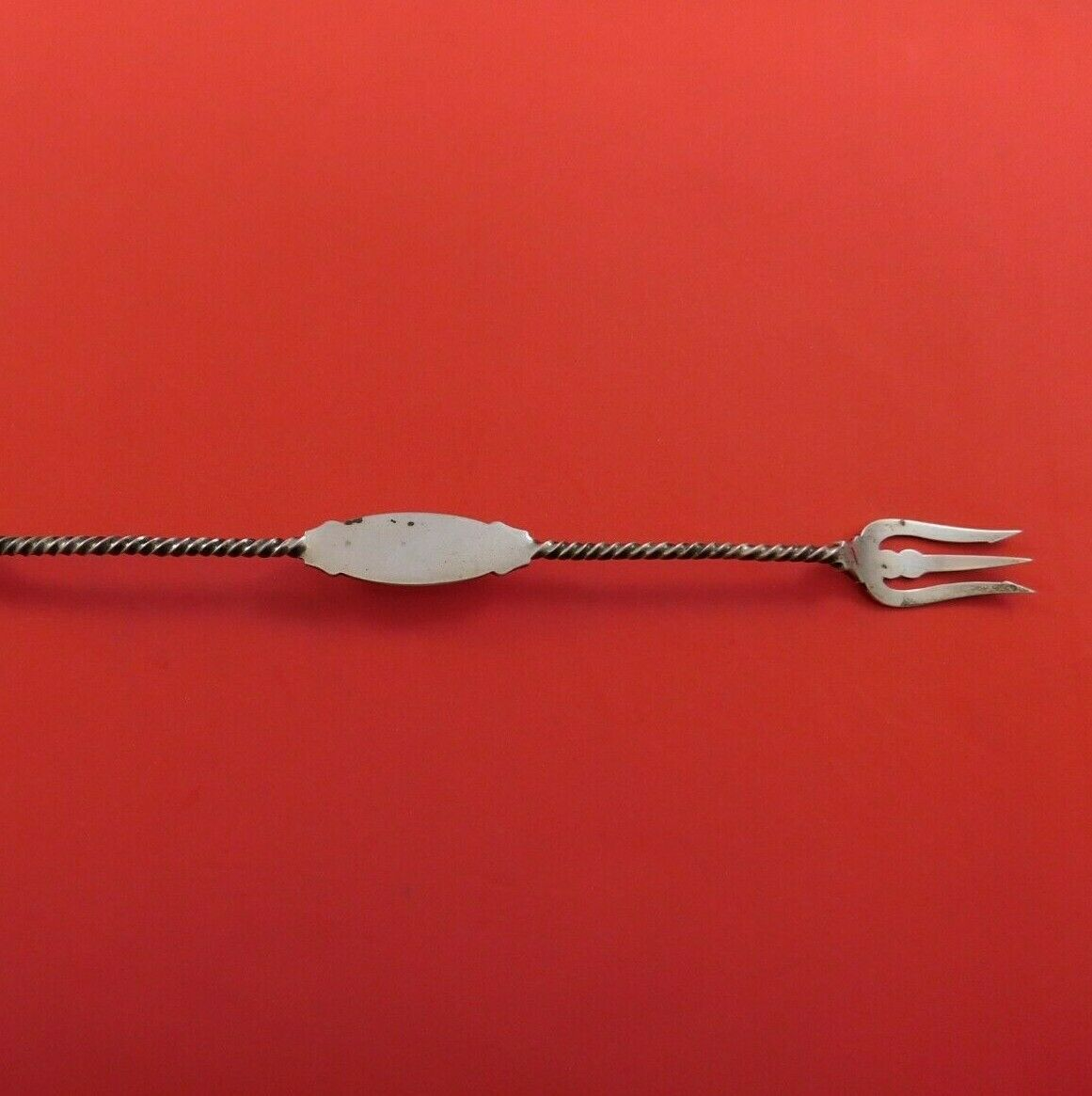 Coin Silver Pickle Fork / Olive Spoon Combination Twisted Pierced 10 3/4""