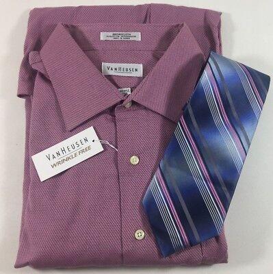 Van Heusen Wrinkle Free Fuschia Pink Dress Shirt Silk Tie Men's 18 34/35 XXL NWT for sale  Shipping to India