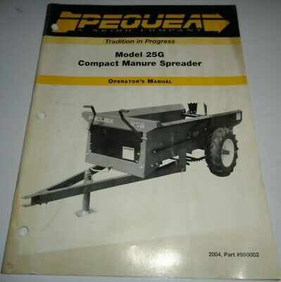 Pequea 25g Compact Manure Spreader Operators Parts Manual Catalog Original