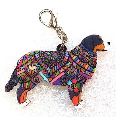 8e8db9ec4fa Bernese Mountain Dog Acrylic Double-Sided Purse Charm Dangle Zipper Pull  Jewelry
