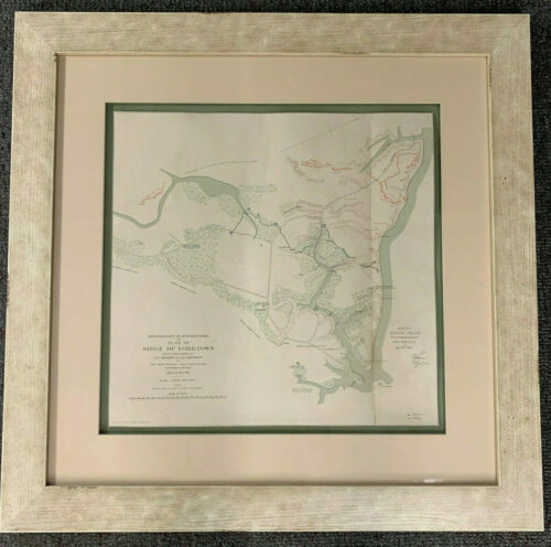 Framed Civil War Map of Siege of Yorktown, Army of the Ohio 1891