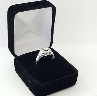 0.75 ct 18K White Gold Round Diamond Halo Engagement Ring GIA Rtl $2,700 10