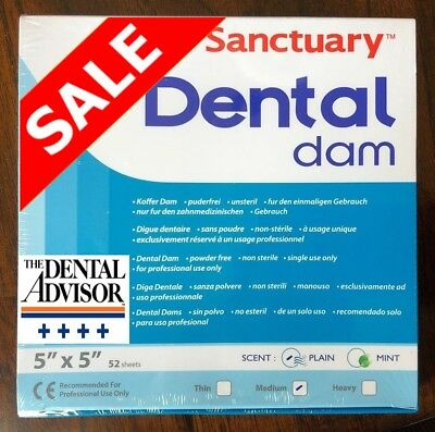 Sanctuary Dental Rubber Dam Sheet Latex 5x5 Medium 52pk Blue High Quality