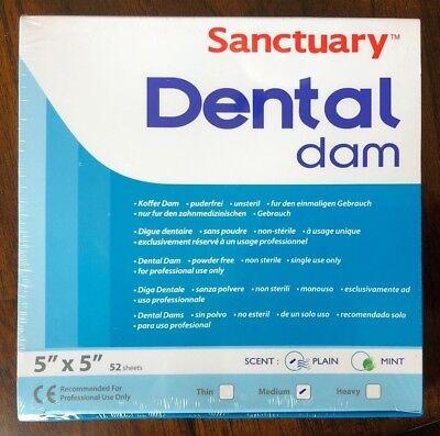 Sanctuary Dental Rubber Dam Latex 5x5 Medium 52pk Blue --- Quality Guarantee