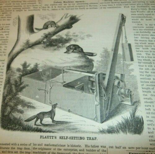 1865 REEDSBURY WISCONSIN SELF SETTING TRAP REPORT- J M FLAUTT