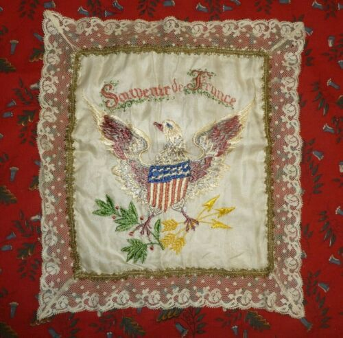 Souvenir France American Flag-WW1-Pillow Sham-Antique Vintage Hand Embroidered