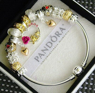 Authentic Pandora Silver Bangle Bracelet Gold Mom Red Pugster European Charm New