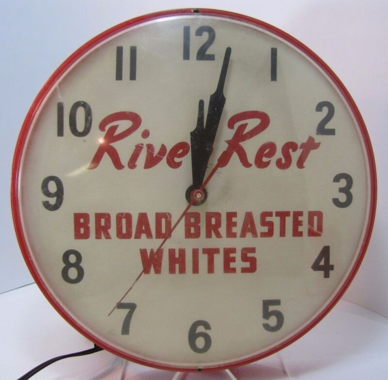 RIVER REST BROAD BREASTED WHITES Old Turkey Advertising Clock Sign Penna Farm