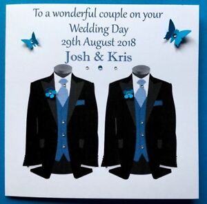 PERSONALISED  HANDMADE CIVIL WEDDING PARTNERSHIP CARD MR & MR GAY WEDDING CARD