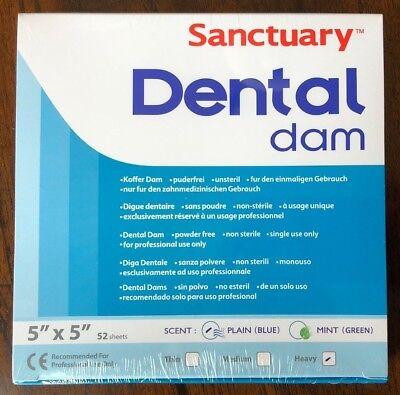 Sanctuary Dental Rubber Dam Latex 5x5 Heavy 52pk Blue --- Quality Guarantee