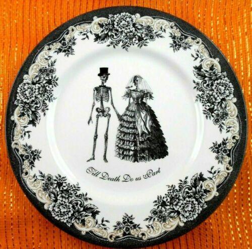 NEW Royal Stafford Till Death Do Us Part Halloween Dinner Plate Goth Bride Groom