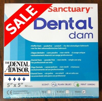 Sanctuary Dental Rubber Dam Latex 5x5 Heavy 52pk Blue Natural Sheet New
