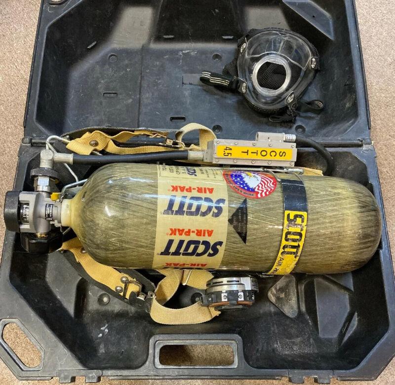 Scott Air Pak firefighter scuba 4.5 apparatus w/ tank, mask, regulator, & case