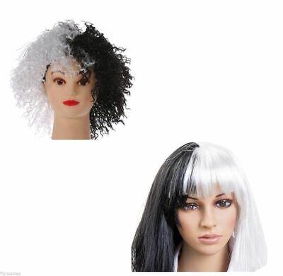 Erwachsene schwarz und weiß Evil Hund Damen Kostüm Perücke Gerade Curly (Schwarze Und Weiße Perücke Kostüm)