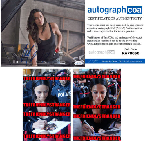 "MICHELLE RODRIGUEZ signed Autographed ""FAST & FURIOUS"" 8X10 PHOTO e PROOF ACOA"
