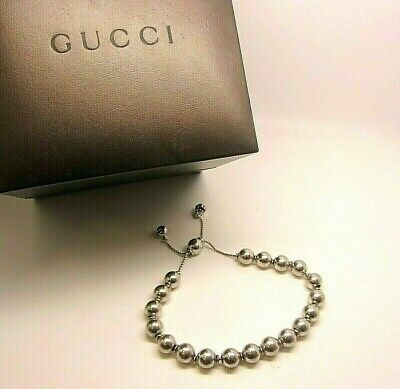Hallmarked GUCCI Sterling Silver Ball Bead Tennis Bracelet With Box YBA3736780
