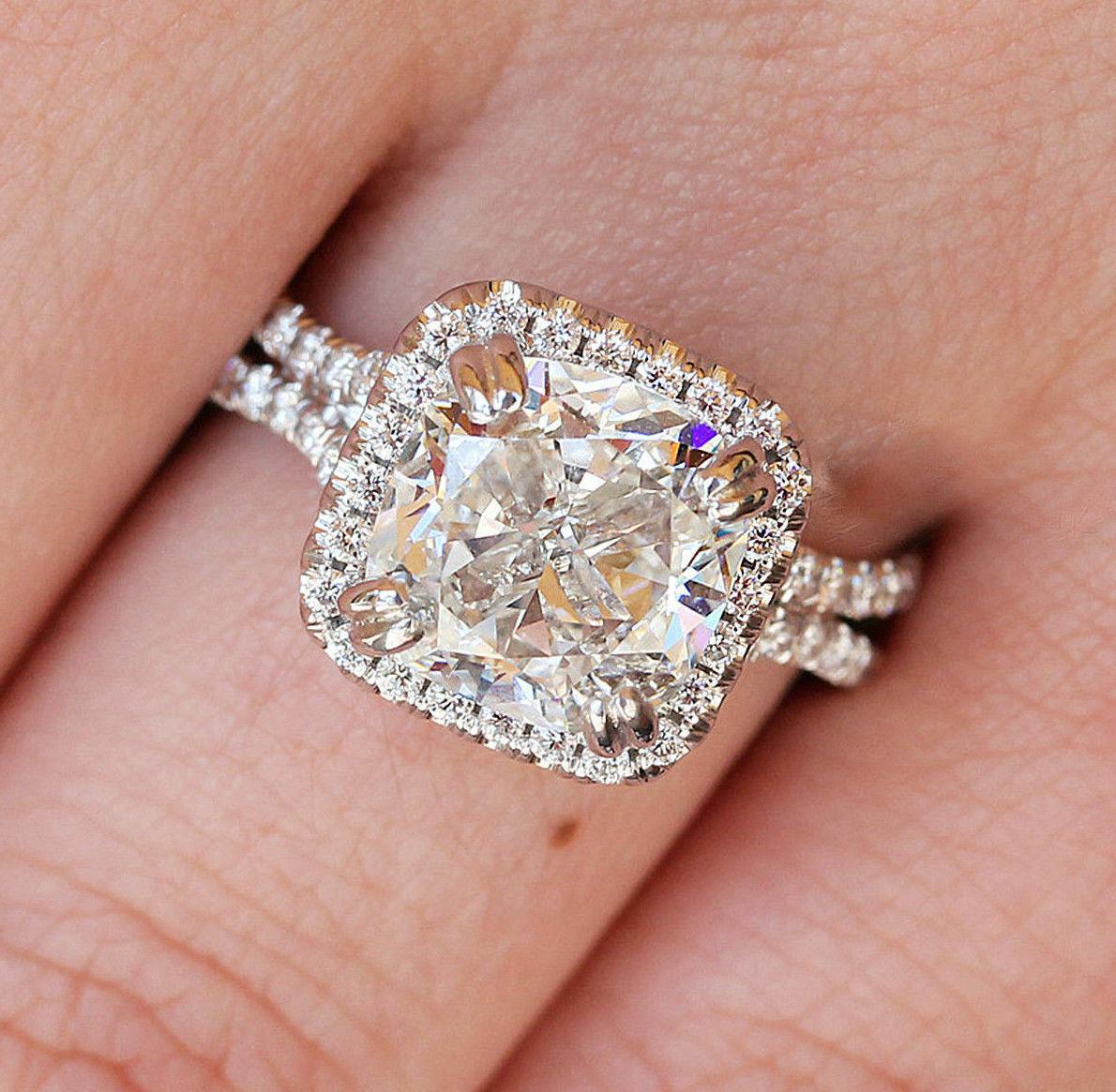 GIA Certified Diamond Engagement Ring Cushion Cut 14k White Gold 2.18 carat
