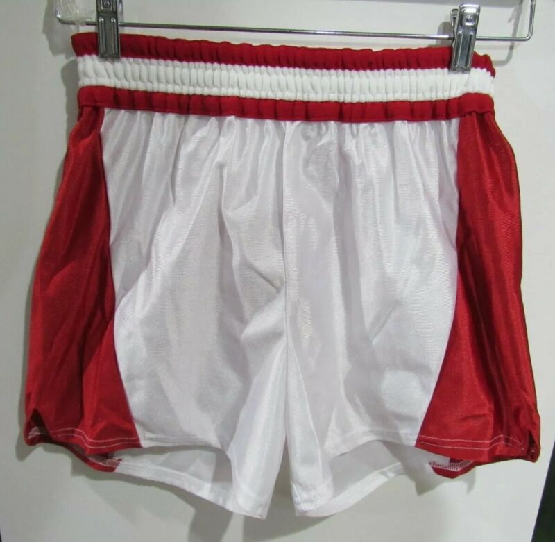 vtg  80s MAJESTIC Athletic #9374 L boys red white shiny gym  shorts XS WOMENS